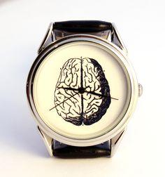 scary gifts at DaWanda, It is handmade watch with unusual design watch face.  Brains. via en.dawanda.com