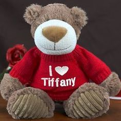 Embroidered I Love You Mocha Teddy Bear