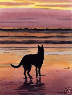 GERMAN SHEPHERD Watercolor DOG 8 x 10 ART Print Signed by Artist DJR #Impressionistic