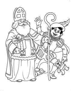 Kleurplaat Zwaaiende Sinterklaas en Zwarte Piet