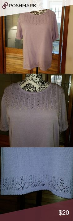 Alfred Dunner sweater NWT. Beautiful lavender Alfred Dunner sweater. Short sleeves and round neckline. Neckline, sleeves and hem are all accented with beautiful stitched pattern. Great spring sweater for work with a pair of trousers or a skirt. Alfred Dunner Sweaters Crew & Scoop Necks