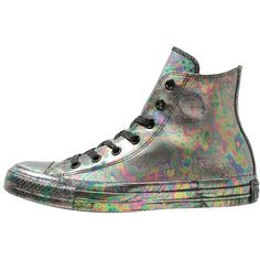 Converse CHUCK TAYLOR ALL STAR RUBBER OIL SLICK ❤ liked on Polyvore featuring shoes, sneakers, black hi top sneakers, rubber sneakers, converse high tops, converse shoes and high top sneakers