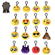 d7ed0ede74 Emoji Novelty Keyrings for Kids, 2