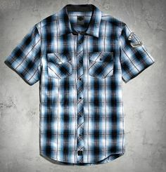 492bd0e47db62 Harley-Davidson® Men s Snap-Front Plaid Shirt Black Label Slim Fit Harley  Davidson