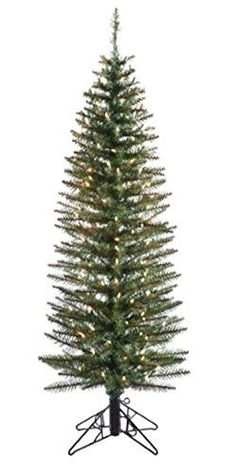 Felices Pascuas Collection 7' Pre-Lit Ozark Pine Pencil Artificial Christmas Tree - Clear Lights