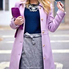 lavendar, navy, and grey work outfit...follow this board for more non-boring office attire!