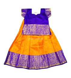 Buy Traditional Pure Silk Pavadai Blue and Yellow Online Indian Baby Girl, White Baby Dress, Kids Blouse Designs, Yellow Online, Kids Lehenga, Anarkali Dress, Pure Silk, Frocks, Ready To Wear