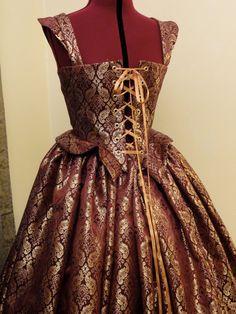 Burgundy and Gold Renaissance Elizabethan Dress by CourtlyClothier, $170.00