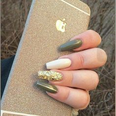 Army Green nail polish with gold on ring finger. Army Green nail polish with gold on ring finger. Army Green nail polish with gold on ring finger. Green Nail Designs, Gel Nail Art Designs, Nails Design, Toe Designs, Trendy Nails, Cute Nails, Olive Nails, Nagellack Design, Green Nail Polish