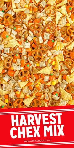Harvest Chex Mix is the perfect snack for fall. It's an interesting mix of sweet and salty that includes Chex cereal, Bugles, pretzels baked in a buttery, brown sugar glaze and mixed with your favorite fall candies.