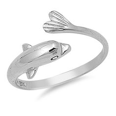 Sterling Silver Cute Dolphin Style Ring Sz 7 Clearance 141084123456