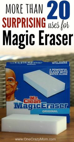 I just love cleaning with Mr. Clean magic erasers. Check out these Mr. Clean Magic Eraser uses for the entire house. Some of them might surprise you. It's so frugal. Magic Erasers gets so many different things clean again. Find 25 Mr. Clean Magic Eraser uses!