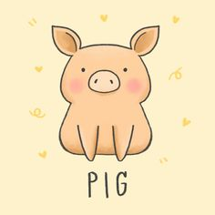 Find pig logo stock images in HD and millions of other royalty-free stock photos, illustrations and vectors in the Shutterstock collection. Cute Cartoon Drawings, Cute Easy Drawings, Cute Kawaii Drawings, Cute Animal Drawings, Cute Kawaii Animals, Cute Cartoon Animals, Cartoon Pig, Gato Anime, Pig Drawing