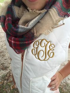 Personalized White Quilted Vest Preppy by thepurplepetunia on Etsy Preppy Outfits, Preppy Style, Cute Outfits, My Style, Fall Fashion 2016, Autumn Winter Fashion, Emma Clothing, Plaid Infinity Scarf, Quilted Jacket