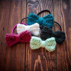 FREE SHIPPING- hair bow, bow hair tie, bow bracelet, crochet bow, crochet hair bow, crochet hair tie, crochet hair accessory. $6.00, via Etsy.