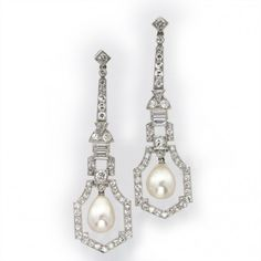 A pair of Art Deco natural pearl and diamond drop earrings, each earring comprising a pear-shaped natural pearl drop, Precious Stone Laboratory certificate number 982501, to the centre of a geometric openwork diamond-set cluster surround, from a run of brilliant-, trilliant- and baguette-cut diamonds in a geometric design, estimated to weigh a total of 2.2 carats for both earrings, all set in platinum to a hook and screw fitting,  circa 1920