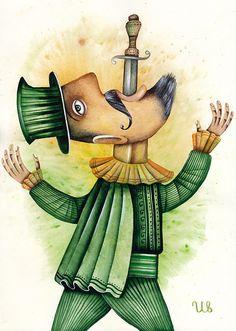 Sword Swallower by Eugene Ivanov #cirque #circus #clown #clownery #illustration #eugeneivanov #@eugene_1_ivanov
