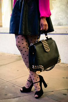 Studded bag + Polka Dots  #leather #studs #shoes #tights #fall #fashion #pink