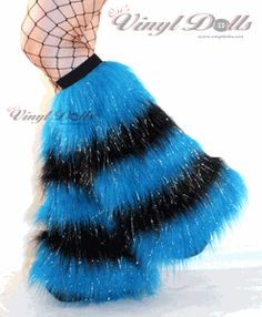 Striped Fuzzy Leg Warmers Boot Covers Neon Blue Black