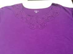 Womens Size 6X Blouse, Purple, Round Embelished neck Short Sleeve cotton/poly NW #LizMeforCatherines #RoundNeck #AllOccasion