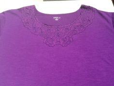 Womens Size 6X Blouse, Purple, Round Embelished neck Short Sleeve cotton/poly NW #LizMeforCatherines #RoundNeck #AllOccasion
