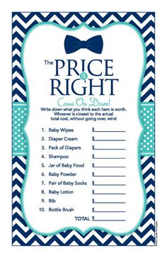 Instant Download Bow Tie Price Is Right Baby Shower Game