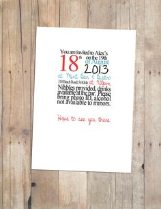 Party Invite 21st Birthday 2 colour design by RDStationary on Etsy, $20.00