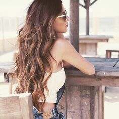 Love this Hair Style! Sexy Wavy Hair! Love the White Sunglasses paired with the White Tank Top! Cute Beach Spring Break Fashion #Hairstyle #Ideas #Spring #Break #Fashion