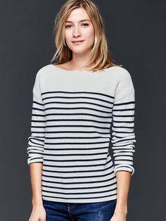 Nautical stripe rib sweater Product Image