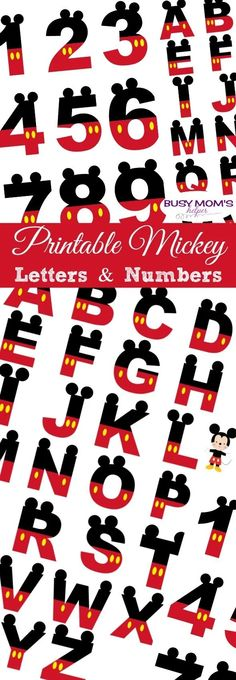 Free Printable Mickey Letters & Numbers Whether a banner for a party, cupcake toppers, or just a fun way to spell out an announcement, these Printable Mickey Numbers & Letters are great! Mickey Mouse Letters, Mickey Mouse Classroom, Mickey Mouse Birthday Decorations, Disney Letters, Disney Alphabet, Disney Classroom, Minnie Mouse, Mickey Birthday, Mickey Party