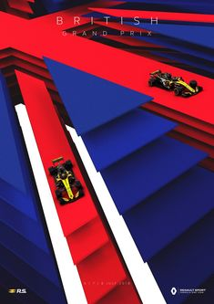 2018 British GP - Renault Sports stunning new poster for the 2018 British Grand Prix. Ladies and gentlemen, please admire Renault's spiffing poster - it's race week again! British Grand Prix, Car Posters, Go Kart, Vintage Racing, France, Banner Design, Sport F1, Sport Cars, Graphics