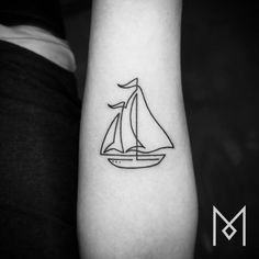 German-Iranian tattoo artist Mo Ganji creates single line tattoos that are simple yet unusual and impactful. His single line tattoos are unique. Sailing Tattoo, Line Drawing Tattoos, Tattoos, Sailboat Tattoo, Tattoos For Guys, Continuous Line Tattoo, Tool Tattoo, Hand Tattoos, One Line Tattoo