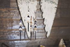Leather Triangle Mobile - such a chic, yet rustic touch in this adventure nursery!