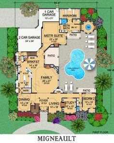 Migneault House Plan First Floor Plan