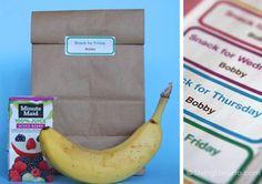 Free School Snack Labels Printables #247moms