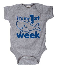 Another great find on #zulily! Athletic Heather 'My First Shark Week' Bodysuit - Infant by Cotton Jungle #zulilyfinds
