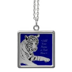 white bengal tiger silver necklace pendant with custom name charm text