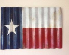 Rustic Lone Star Flag Texas Flag Corrugated Metal by FordCountry Metal Flag, Wooden Flag, Metal Roof, Metal Art, Patriotic Decorations, Patriotic Crafts, Patriotic Party, 4th July Crafts, Best Flags