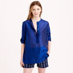 "A little metallic and a lot of airiness, this easy popover (inspired by a shirt owned by the coolest French girl we know) adds just the right amount of<i> je ne sais quoi</i> to your closet.  <ul><li>Body length: 29"".</li><li>Cotton/metallic threads.</li><li>Long roll-up sleeves.</li><li>Machine wash.</li><li>Import.</li><li>Online only.</li></ul>"