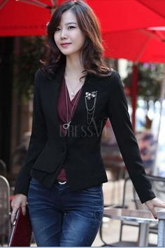 Black Korean Style Slim One-Button Blazer