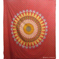 Red Mandala Hippie Bohemian Tapestry Wall Hanging on RoyalFurnish.com, $23.99