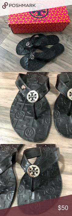 0ccc079a873 Tory Burch Thora Patent Calf Tory Burch Thora Patent Calf Flip Flop Sandal  Black with silver