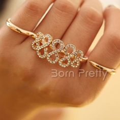 $4.53 1pc Bling Rhinestones Eight Metal Double Fingers Ring Open Adjustable Knuckle Ring - BornPrettyStore.com