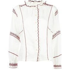 Isabel Marant Étoile Delphine blouse (1.585 RON) ❤ liked on Polyvore featuring tops, blouses, scallop hem top, ruffle neck top, white ruffle neck blouse, white long sleeve top and white long sleeve blouse