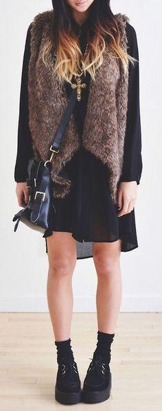 brown faux fur vest  http://rstyle.me/n/in4kdpdpe