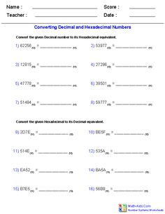 Decimal and Hexadecimal Worksheets