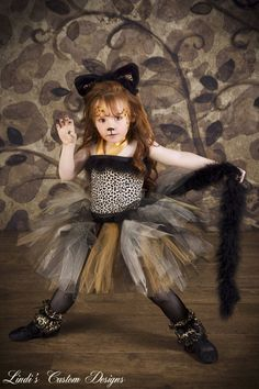 Zeporah's Cheetah princess costume!! Cheetah Leopard Print Tulle Tutu Costume accented with Marabou  Cat Ears Headband Costume for Girls to 6 Yr