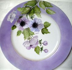 dish with anemones hand painted by thepleasureofpaintin on Etsy, €28.00