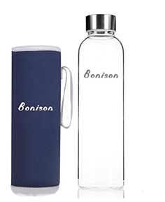 BONISON Stylish Top-Quality Environmental Borosilicate Glass Water Bottle with Colorful Nylon Sleeve, Blue, 18 oz ** For more information, visit image link.