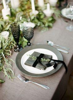 Classic black and white wedding inspiration Fall Table, Thanksgiving Table, Thanksgiving Decorations, Christmas Decorations, Green Wedding, Wedding Colors, Green And Grey, Black And White, Tiny Prints